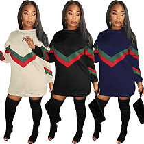 Plus Size Loose Stripe Patchwork Hoodie Dress GL6061