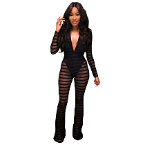 Sexy Deep V Neck Mesh Black Jumpsuits LM936