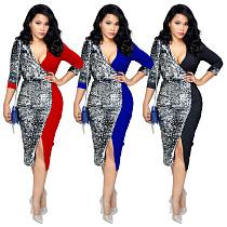 Pailletten Patchwork Deep V Collar Split Kleid für Office Lady WY6528