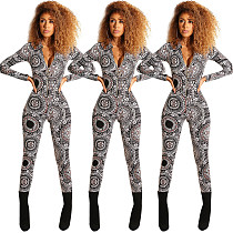Newest Zipper Long Sleeves Tight Jumpsuit For Ladies ED8056