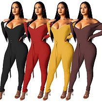 Sexy Off Shoulder Slim Knit Jumpsuits With Belt SMR9127