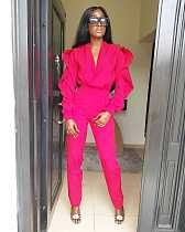 Pink Ruffle Sleeves Deep V Neck Jumpsuits AA5018