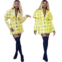 Office Ladies Fashion Yellow Checks Mini Dress HM5189