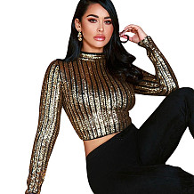 Trendy Glitter Sequins Crop Tops YYZ816