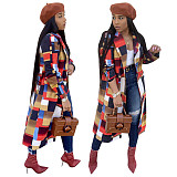 Classic Long Colorful Plaid Women Coat With Pockets SN3498