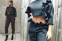 Black Ruffle Outfits Women Casual Sets H1075