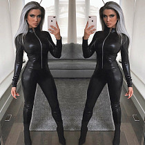 Hot Sell Zipper PU Leather Bodycon Jumpsuit BN9137