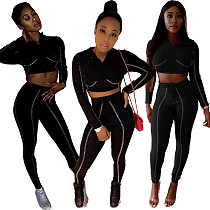 Shiny Fashion Outfits Hooded Crop Top Tight Leggings Q191