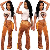 Women Pleuche Low-Waistline Flare Pants DN8185