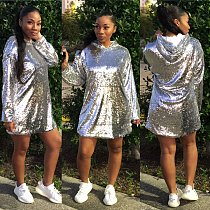 Bling Bling Sequins Hoodie T Shirt Dress ED8054
