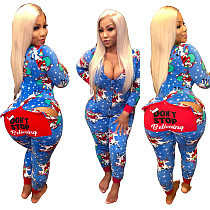 Christmas Clothing Print Zip Up Bodycon Jumpsuits SMR9048