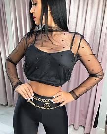 Zwarte mesh kralen sexy crop tops W8148