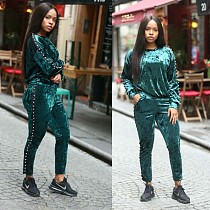 Solid Velvet Beading Sports Outfits L0232