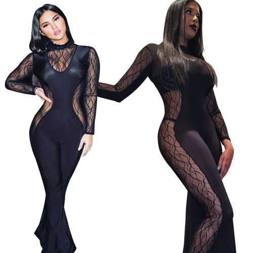 Sexy Black See Through Mesh Wide Leg Jumpsuits QZ6070