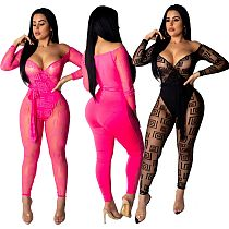 Sexy See Through Mesh Off Shoulder Bodycon Jumpsuits LA3083
