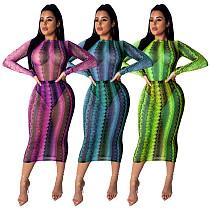 Günstige Snake Print Mesh Perspektive Midi Kleid SDD9095