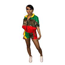 Esporte camuflagem retalhos shorts ternos para as mulheres SDD9082