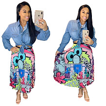 Lovely Plus Size Cartoon Printing Pleated Skirts LD8277