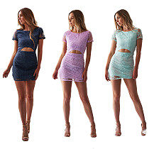Fashion Solid Backless Tops Mini Skirts Sets JLX3077