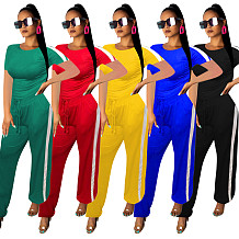 Camisas de mangas curtas T listrado Side Sports Outfits Sets CM549