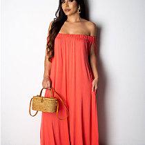 Orange Women Solid Off Shoulder Loose Wide Leg Jumpsuits X9125