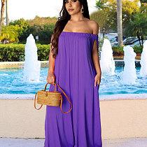 Purple Women Solid Off Shoulder Loose Wide Leg Jumpsuits X9125