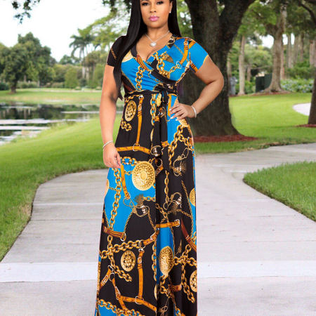 Blue Colorful Print Short Sleeves Maxi Long Dress X9120
