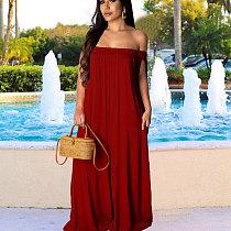 Wine Red Women Solid Off Shoulder Loose Wide Leg Jumpsuits X9125