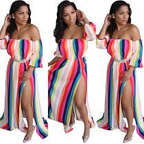 Colorful Striped Print Off Shoulder Maxi Long Dress HG5190