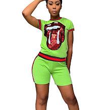 Lantejoulas verdes Imprimir Camisetas Midi Shorts Duas Peças Define CM566