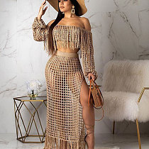 Khaki Tassel Bandeau Tops Mesh Long Skirts Beach Sets TRS938