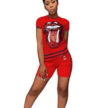Lantejoulas vermelhas Imprimir Camisetas Midi Shorts Duas Peças Define CM566