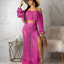 Pink Tassel Bandeau Tops Mesh Long Skirts Beach Sets TRS938