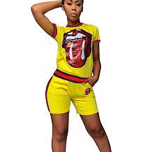 Amarelo Lantejoulas Imprimir Camisetas Midi Shorts Duas Peças Define CM566