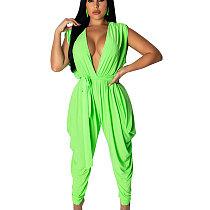 Green Sleeveless Deep V Neck Wide Leg Jumpsuits TRS908