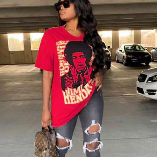 Red Casual Cartoon Print Long Loose T Shirts TRS919