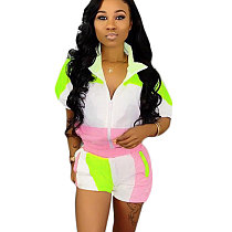 Pink Casual Color Block Two Pieces Outfits SN3534