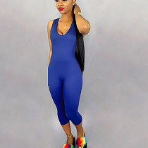 Blue Solid Tank Tops Bodycon Jumpsuits SN3555