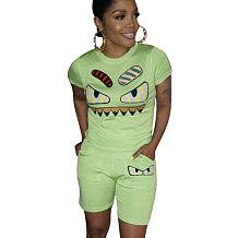 Verde Casual Moda Dos Desenhos Animados Impressão Plus Size 3XL Roupas Esportivas H1139