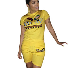 Amarelo escuro Moda Casual Dos Desenhos Animados Impressão Plus Size 3XL Roupas Esportivas H1139