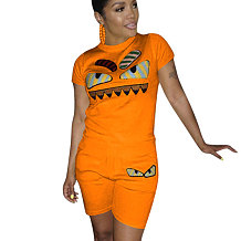 Laranja Casual Moda Dos Desenhos Animados Impressão Plus Size 3XL Roupas Esportivas H1139