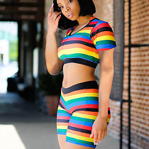 Summer Colorful Striped Two Pieces Outfits MA6174