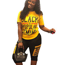 Yellow Letter Print T Shirts Midi Shorts Fashion Outfits LS6269