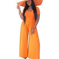 Pure Color Orange Oversize Wide Jumpsuits mit weitem Bein D8272