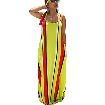 Fashion Oversize Strappy Striped Print Maxi Long Dress DN8236
