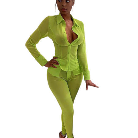 Green Mesh Shirts See Through Pants Two Pieces Sets QZ3272