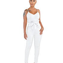 White Strappy Plain Color Pencil Pants Slim Jumpsuits SMR9271