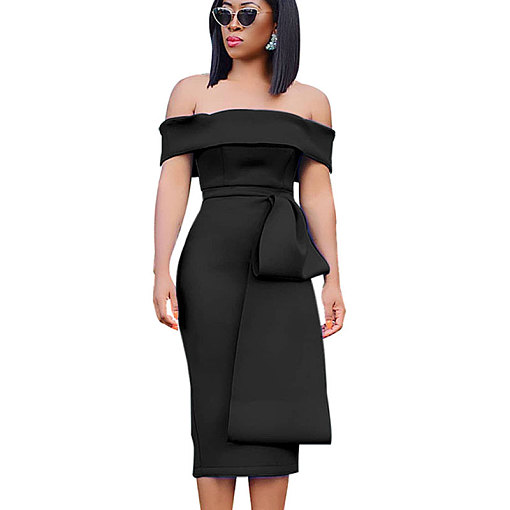 Black Elegant Off Shoulder Solid Ruffle Midi Dress QZ3270