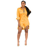Yellow Casual Long Sleeves Jeans Short Jumpsuits SMR9039