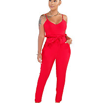 Red Strappy Plain Color Pencil Pants Slim Jumpsuits SMR9271